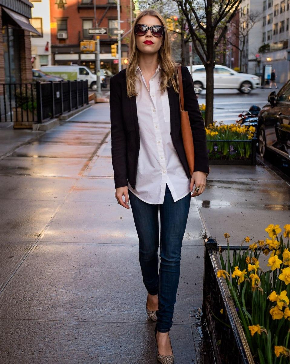 Shirt: Madewell| LeatherJacket: French Connection | Blazer: Banana Republic | Shoes: Madewell | Sunglasses: Elizabeth and James, Similar| Bag: Madewell|Lipstick:Nars Velvet Matte Lip Pencil in